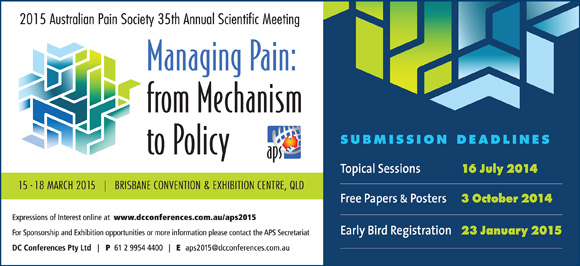 pain society meeting Australian pain society 38th and new zealand pain society conjoint annual scientific meeting supporting multidisciplinary pain management in pain society is a.