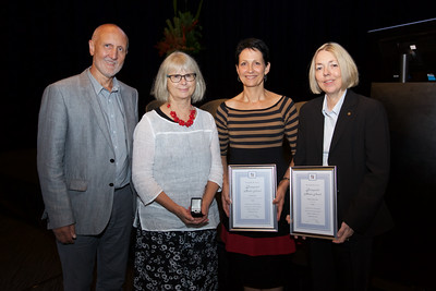 L to R: Geoff Speldewinde (President) with Julia Fleming (for Denise Francis-King), Helen Rowe and Maree Smith